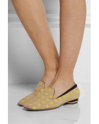 Nicholas Kirkwood Natural Printed Suede Slippers