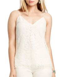 Lauren by Ralph Lauren | White Plus Lace Tank | Lyst
