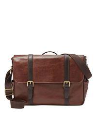 Fossil Brown Leather Messenger Bag for men
