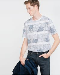 Zara | Blue T-shirt With Floral Bands for Men | Lyst