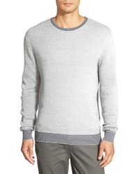 Vince Camuto | Gray Cotton Crewneck Sweater for Men | Lyst