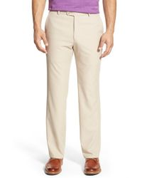 Peter Millar | Natural 'durham High Drape' Flat Front Pants for Men | Lyst