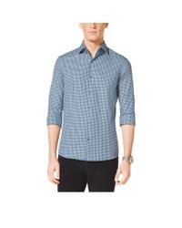 Michael Kors | Blue Slim-fit Check Cotton Shirt for Men | Lyst
