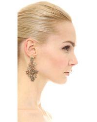 Oscar de la Renta Metallic Crystal Flower Clip On Earrings
