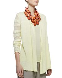 Eileen Fisher - Natural Linen Jersey Shadow Striped Cardigan - Lyst