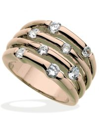 Guess | Pink Rose Gold-tone Multirow Crystal Stone Ring | Lyst