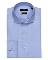 BOSS - Blue Jason Textured Slim Fit Shirt for Men - Lyst