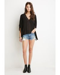 Forever 21 Black Lace-up Embroidered Crop Top