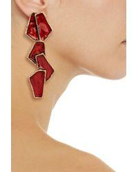 Oscar de la Renta Pink Goldplated Resin Earrings