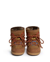 Ikkii | Brown 'fokelore' Suede Embroidery Sheepskin Shearling Moon Boots | Lyst