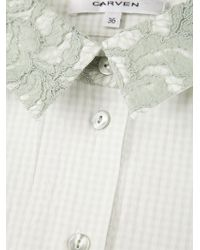 Carven Green Lace Gingham Check Shirt Collar