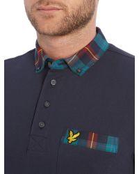Lyle & Scott - Blue Tartan Collar Polo Shirt for Men - Lyst
