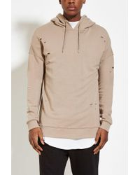 Forever 21 - Natural Distressed Cotton-blend Hoodie You've Been Added To The Waitlist for Men - Lyst