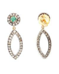 Socheec - Green Diamond And Emerald Open Drop Earrings - Lyst