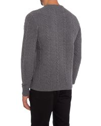 Original Penguin Gray Crew Neck Lambswool Cable Knit Jumper for men