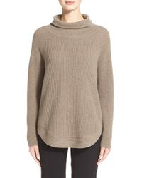 VINCE | Brown Side Zip Turtleneck | Lyst