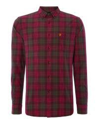Farah | Purple Milsom Regular Fit Space Dye Check Shirt for Men | Lyst