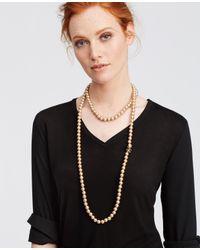 Ann Taylor | Natural Pearlized Crystal Sunburst Double Layer Necklace | Lyst