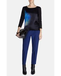Karen Millen - Black Silk Digital Print T-Shirt - Lyst