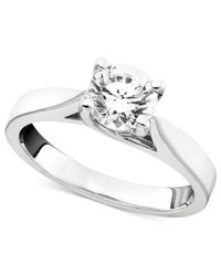 Macy's Certified Diamond Engagement Ring In 14K White Gold (1-1/4 Ct. T.W.)