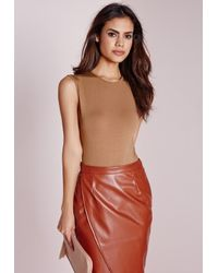 Missguided - Natural Sleeveless Bodysuit Camel - Lyst