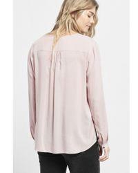 Violeta by Mango Pink Patch Pocket Blouse