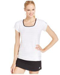 Adidas | White Premium Climalite® Jacquard Cap-sleeve Tennis Top | Lyst