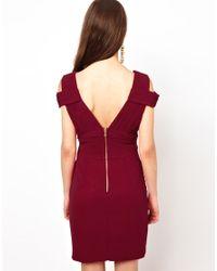 Little Mistress - Red Cold Shoulder Dress - Lyst