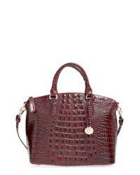 Brahmin - Purple 'medium Duxbury' Croc Embossed Leather Satchel - Lyst