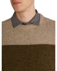 Howick - Green Stoneham Panel Crew Neck Jumper for Men - Lyst