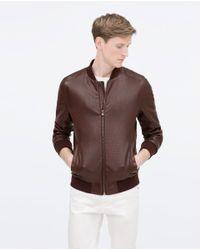 Zara | Purple Faux Leather Bomber Jacket for Men | Lyst