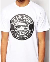 Aape White By A Bathing Ape T-Shirt With Now Chest Print for men