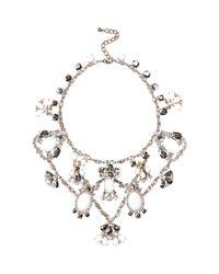 River Island | Metallic Gold Tone Gemstone Statement Short Necklace | Lyst