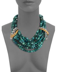 Alexis Bittar - Green Chrysocolla Feathered Tressage Multi-Strand Necklace for Men - Lyst