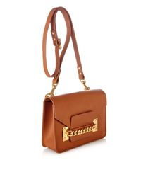 Sophie Hulme Brown Structured Chain Envelope Cross-body Bag