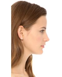 Tory Burch - Metallic Small T Logo Stud Earrings - Rose Gold - Lyst