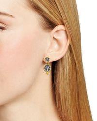 Freida Rothman Metallic Double Pave Disc Drop Earrings
