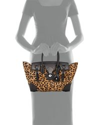 Ralph Lauren - Black Ricky 27 Leopard-print Calf Hair Satchel Bag - Lyst