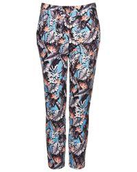 TOPSHOP Multicolor Tropical Print Cigarette Trousers