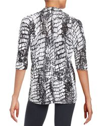 Lafayette 148 New York Gray Patterned Open Front Cardigan