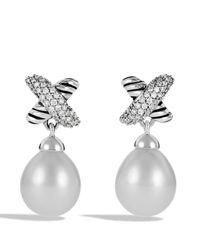 David Yurman White X Earrings with Diamonds Pearls