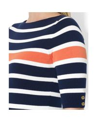 Lauren by Ralph Lauren - Blue Striped Boatneck Sweater - Lyst
