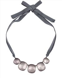Jaeger | Gray Pebble Ribbon Necklace | Lyst