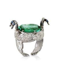 Bernard Delettrez - Metallic Swan Fluorite And Gold Ring - Lyst