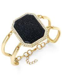 ABS By Allen Schwartz - Metallic Gold-Tone Jet Stone Crystal Cutout Flex Bracelet - Lyst