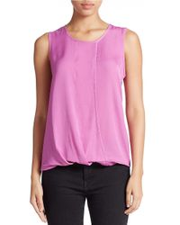 Lord & Taylor | Pink Sleeveless Mock Wrap Blouse | Lyst