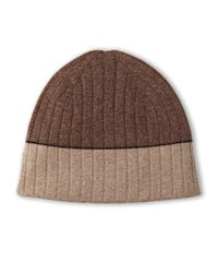 Sofia Cashmere | Brown Cashmere Knit Reversible Hat | Lyst