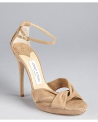 Jimmy Choo | Natural Nude Suede Twist Front Platform Sandals | Lyst