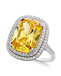 Arabella | Metallic Yellow And White Swarovski Zirconia Cushion-Cut Ring (13-3/8 Ct. T.W.) | Lyst