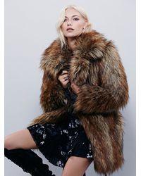 Free People Brown Womens Shaggy Faux Fox Fur Co